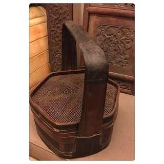 🚚 早期 老物 明末清初 百年老籐籃 食盒 提飯籃
