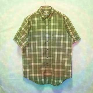 三件7折🎊 Burberry 短袖襯衫 襯衫 墨綠 經典格紋 胸前口袋 電繡logo 極稀有 老品 復古 古著 Vintage