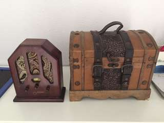 Vintage radio and chest box for sales