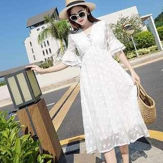 Crochet Lace Dress (White)