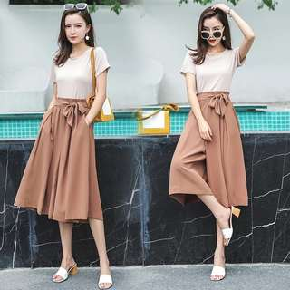 Bowknot Wide Out Culottes (Brown)