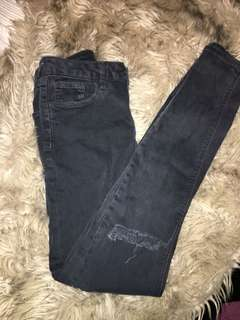 TOPSHOP high waisted skinny ripped jeans 10