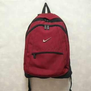 三件7折🎊 Nike 後背包 包包 酒紅黑 立體金屬logo 極稀有 美國製 老品 復古 古著 Vintage