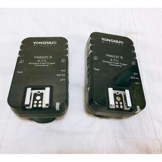 永諾公司貨 YN-622C II 二代ETTL 無線引閃控制器 一拖一 引閃器 觸發器 CANON用