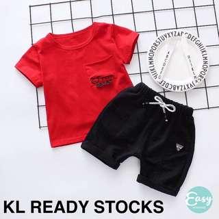 Kids Boy Red Tee T-Shirt with Black Pants Set Wear