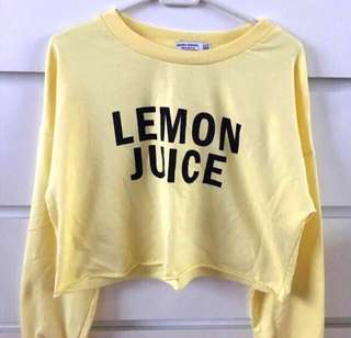 Bershka lemon juice crop sweatshirt
