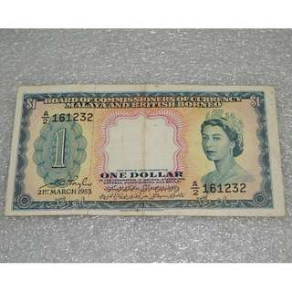 1953 Board of Commissioners of Currency Malaya & British Borneo $1 ( EF )  A2_161232
