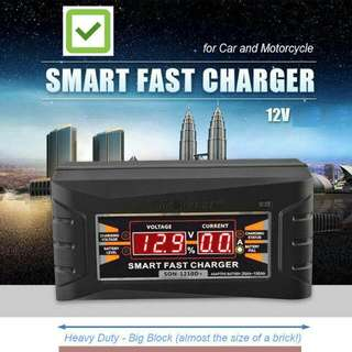 Motorbike & Car Smart Fast 12v Battery Charger w/LCD Display