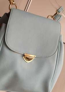 Light blue Leather backbag