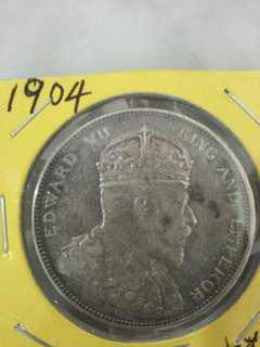 1904 KEVII Straits Settlement Silver Crown 海峡银圆