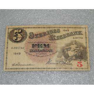 1949 Sverices Riksbank Sweden 5 Kronor Good VF