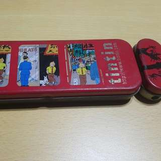Vintage Tintin Pencil Case Metal  With Button Attached Sharpener