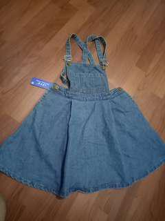 丹寧短版吊帶裙