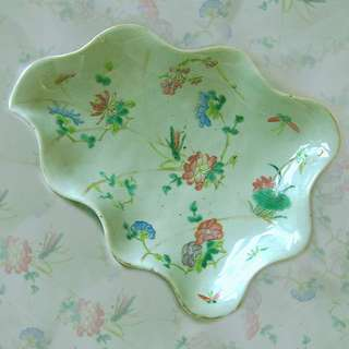 "🚚 19thC Chinese Export Famille Rose Celadon Leaf Shaped Footed Dish 10-3/8""d 晚清豆青粉彩瓷"