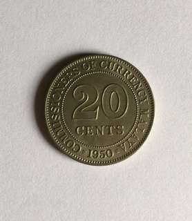 #July100 20 Cents Coin Year 1950