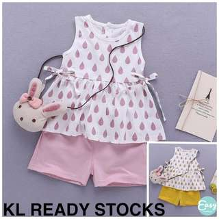 Kids Girl Water Drop Sleeveless Top with Short Pants Set Wear