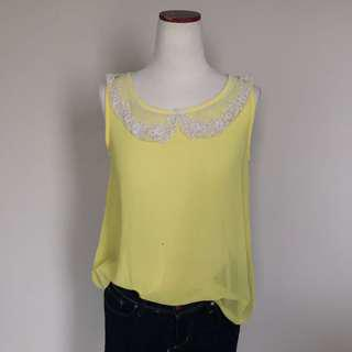 Rose Lace Collar Yellow Blouse