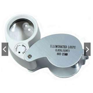 *Brand New* 40X 25mm Glass Magnifier Loop Magnifying Loupe with LED