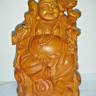 aaL皮商旋.已稍有年代高約22公分黃楊木彌勒佛佛像雕刻擺飾!--具古早味值得收藏!/滾2/-P