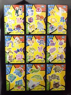 Topps Pokemon 1st Movie Complete Set of 18 stickers Mint condition (Blue Logo )
