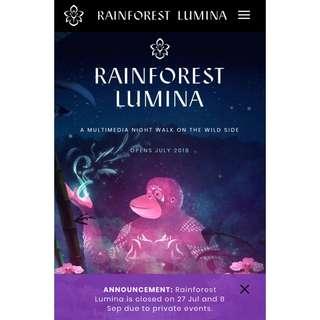 🚚 Rainforest lumina tickets