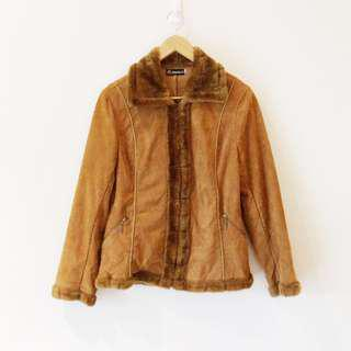 Vintage 70s Style Faux Suede and Fur Printed Zip Up Jacket in Tan