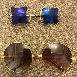 兩副 復古 造型 太陽眼鏡 墨鏡 圓形 方形