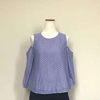 Lavender Cold-Shoulder Lace Blouse