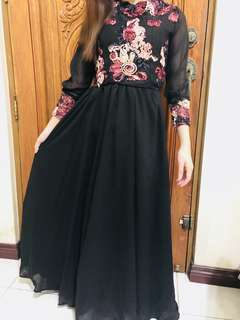 Black floral gown For sale