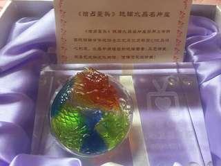 獨佔鰲頭韓國K9 優質七色水晶名片座(有盒)
