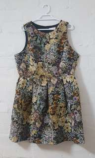 Structured tapestry floral dress