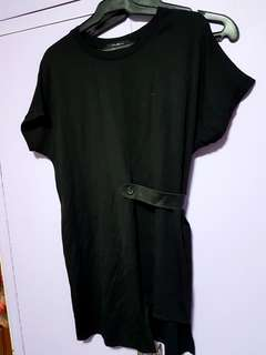 Black shirt dress with leather detail Large