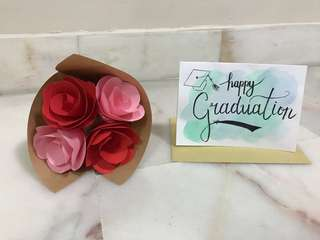 Graduation Card and Paper Crafted Bouquet