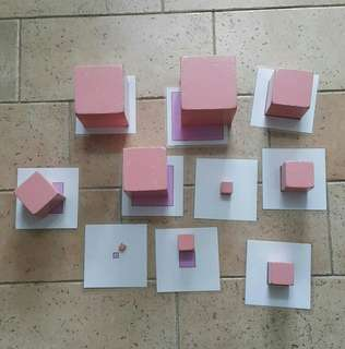 Montessori Pink Cubes with Matching Cards