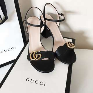 Authentic Gucci women's leather mid-heel sandal