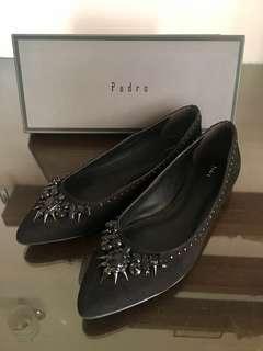 Pedro Black Suede Embellished Flats