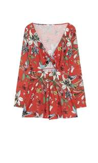 Pull & Bear Floral Jumpsuit with a knot