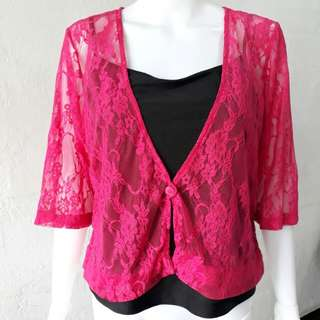 Lace cardigan and black camisole