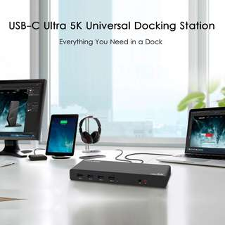 Wavlink USB C 5K Laptop Universal Docking Station Ultra HD Multiple Display Dock with 2 × HDMI and DisplayPort, Gigabit Ethernet, Type C, 6 × USB 3.0, Audio, Mic