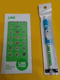 Line Friends Moon 三角原子筆及貼紙