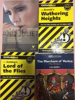 Cliff notes, York notes for Romeo and Juliet, Lord of the Flies, Withering Heights and Merchant of Venice