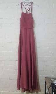 Fancy back, leg split rose pink maxi beach dress