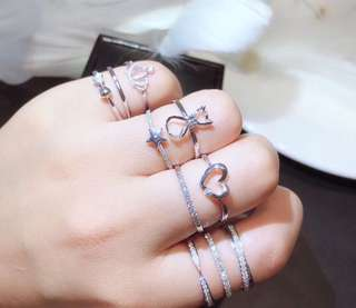 可愛優惠小戒指💍18k白金玫瑰金鑽石戒指🐈可愛小貓咪皇冠心型線戒🎁女朋友生日禮物推薦💎輕珠寶