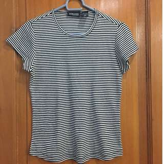 """Black and White Striped """"New York & Co"""" Shirt"""