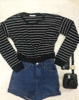 Stripes crop pullover