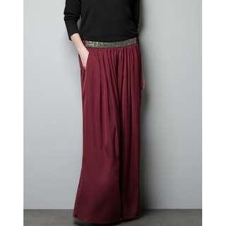 Zara Satin Maroon Maxi Skirt with Beaded Waist Detail