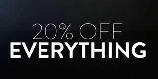 20% off on ALL items!!!