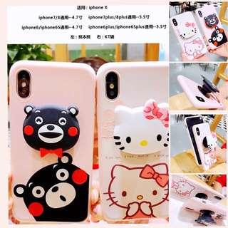 新款熊本熊& Hello Kitty氣囊支架軟身全包iPhone 套防摔