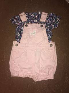 Carters Pink Jumper with floral shirt