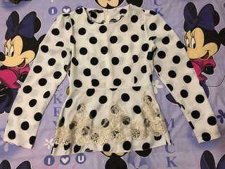 black dotted white tops